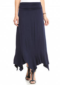New Directions Solid Hanky Hem Skirt