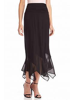 New Directions Woven Hanky Hem Skirt