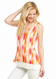 New Directions Printed Double Layer Tank With Necklace
