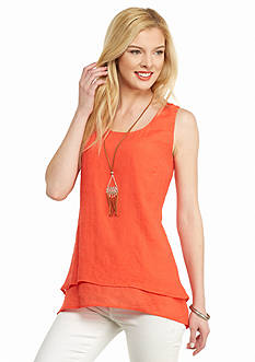 New Directions Double Layer Tank With Necklace