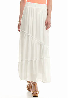 New Directions Solid Gauze Seamed Skirt