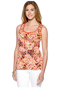 New Directions Printed Woven Tank with Knit Back