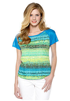 New Directions Printed High Low Woven to Knit Top