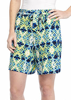 New Directions Tie Dye Stripe Sash Shorts