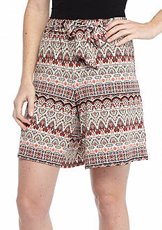 New Directions Boho Stripe Sash Shorts