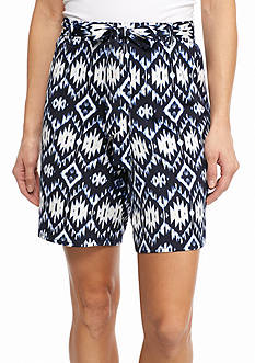 New Directions Blurred Aztec Sash Shorts