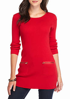 New Directions Solid Ribbed Sweater Tunic