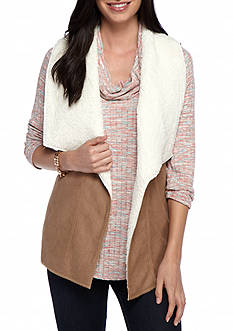 New Directions Sherpa Faux Suede Vest