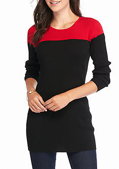 New Directions Ribbed Colorblock Sweater Tunic