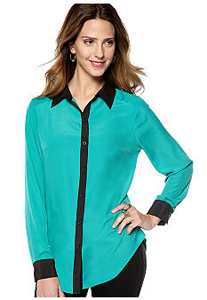 New Directions Long Sleeve Contrast Top