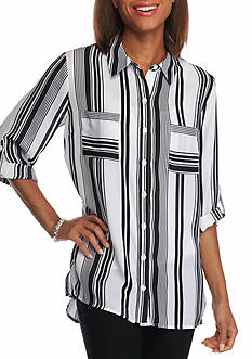New Directions Stripe Button Front Shirt