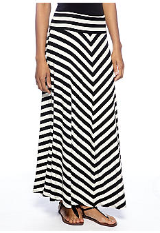 New Directions Fold Over Stripe Knit Maxi Skirt