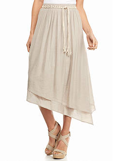 New Directions Belted Pointed Hem Layered Skirt