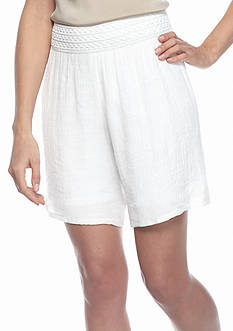 New Directions Novelty Waistband Gauze Shorts