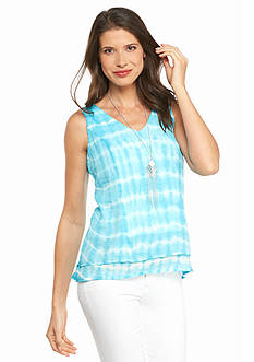 New Directions Tie Dye Double Layer Necklace Tank