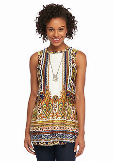 New Directions Tapestry Print Necklace Swing Top