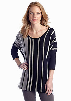 New Directions® Vertical Stripe Poncho Top