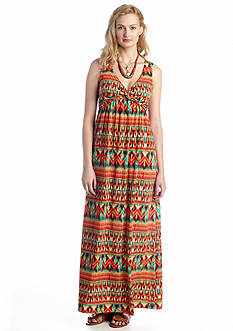 New Directions® Twist Front Printed Maxi Dress