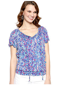 New Directions Printed Burnout Top