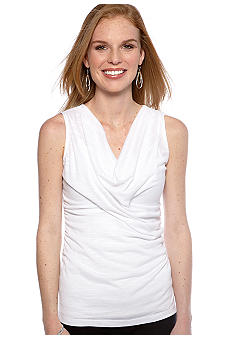 New Directions Slub Drape Neck Top