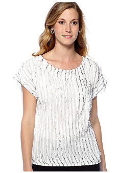 New Directions Short Sleeve All Over Ruffle