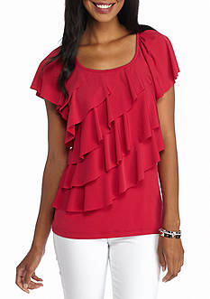 New Directions Solid Ruffle Front Top