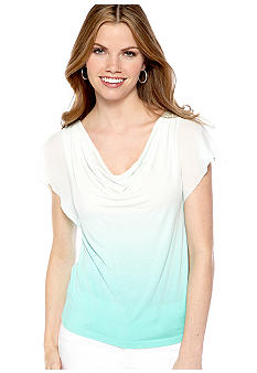New Directions Petite Drape Neck Flutter Sleeve Top