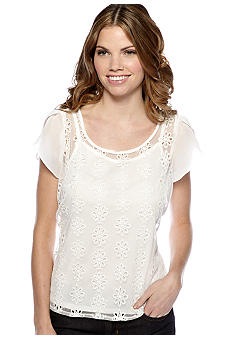 New Directions Petite Embroidered Flower Chiffon Top with Flutter Sleeves