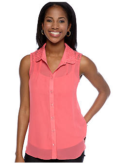 New Directions Petite Sleeveless Chiffon Top with Embroidered Detail