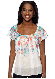 New Directions® Petite Sublimation Floral Print Top with Flutter Sleeves