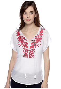 New Directions Petite Short Sleeved Embroidered Gauze Top with Tassels