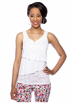 New Directions Petite Tiered Tank with Crochet Neck