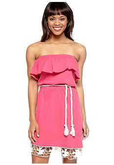 Red Camel Crochet Trim Ruffle Tube Dress