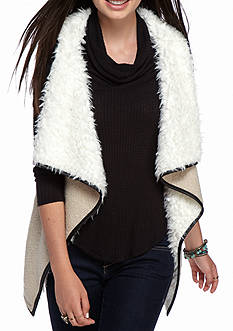 Red Camel Faux Fur Lined Cascade Vest