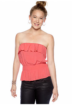 Derek Heart Ruffle Peplum Tube Top