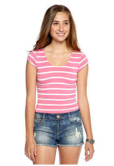 Derek Heart Stripe Cross Back Crop Top