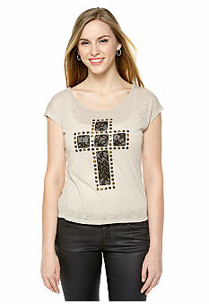 Derek Heart High Low Lace Cross Embellished Tee