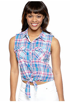 Derek Heart Sleeveless Tie Front Shirt