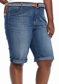 Bandolino Plus Size Riley Belted Jean Bermuda Shorts