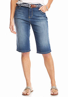 Bandolino Petite Riley Belted Denim Bermudas