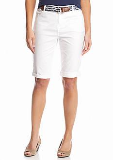 Bandolino Petite Riley Belted Twill Bermuda Shorts