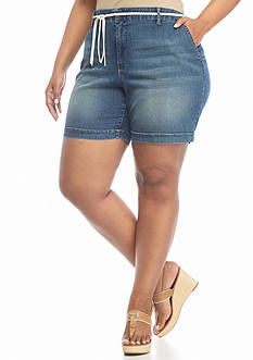 Bandolino Plus Size Ines Belted Denim Shorts