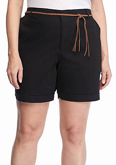 Bandolino Plus Size Ines Belted Roll Cuff Shorts