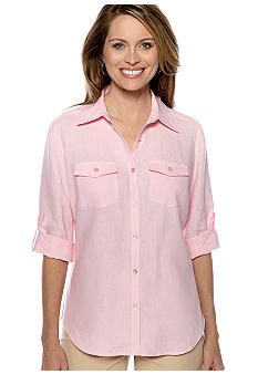 Kim Rogers Button Front Linen Shirt