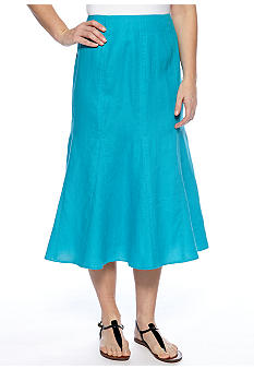Kim Rogers Solid Color Linen Skirt