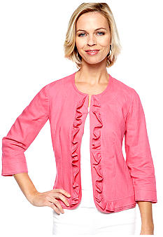 Kim Rogers Solid Color Linen Ruffle Jacket