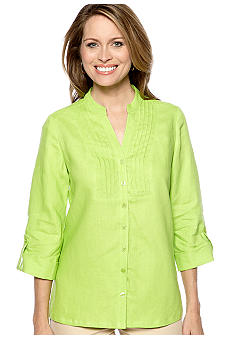 Kim Rogers Pleated Bib Front Linen Top