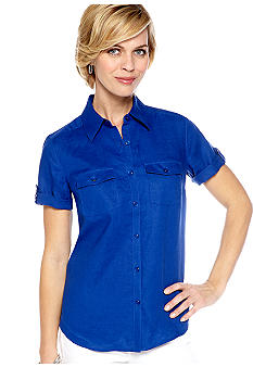 Kim Rogers Short Sleeve Camp Roll Tab Sleeve Shirt