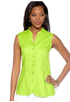 Kim Rogers Linen Sleeveless Solid Shirt