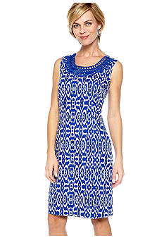 Kim Rogers Printed Linen Dress with Crochet Neck Trim